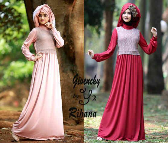 Baju gamis rihanna gaun pesta muslim maxi dress Baju gamis pesta kombinasi brokat