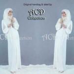 Baju Gamis Brokat Putih+pashmina