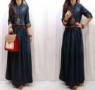Maxi Dress Jeans + Belt (Kode: S138)