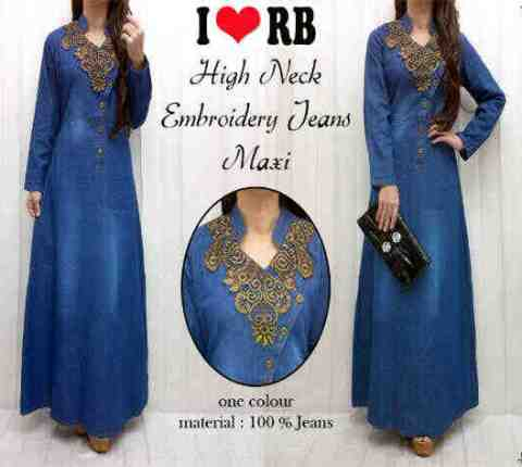 Gamis denim bordir etnik kerancang model busana hijabers Baju couple gamis denim