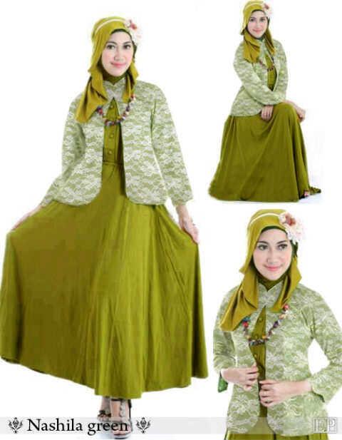 Baju Gamis Nashila Green Blazer Brokat Kombinasi F08