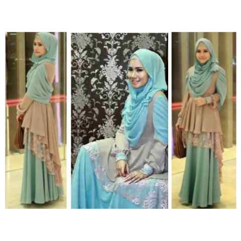 gamis pesta layer brokat p24 kezzia princes