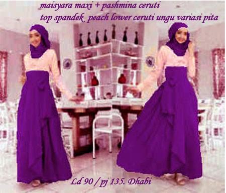 maIsyara maxi. top spandek PEACH, lower ceruti UNGU + pashmnina ceruti. fit L. LD 90cm. PJ 135cm.DHABI @130rb