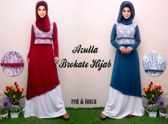 Baju Gamis Brokat Azulla Koleksi Gaun Pesta Muslimah
