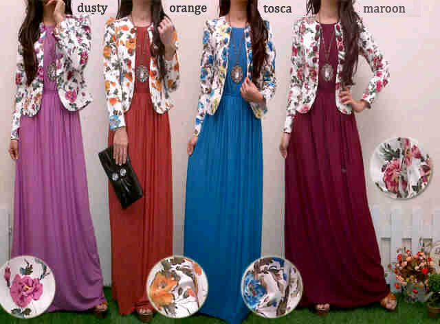 Baju Gamis Kombinasi Blazer Bunga Koleksi Dress Remaja Modern Model Terbaru Butik Jingga