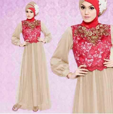 gamis pesta satin variasi brokat+tile BJ590