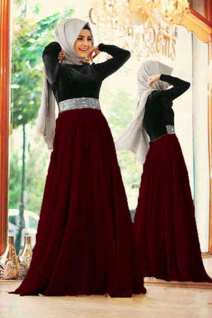 Baju Gamis Modern Mix Satin Model Long Dress Remaja Terbaru
