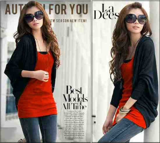 RV17 Cardi kalong black + red inner