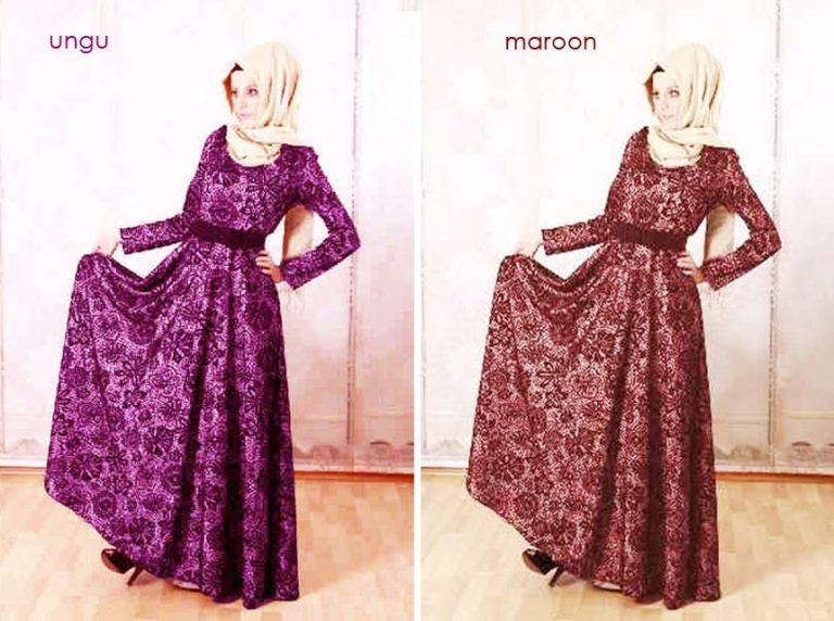 Gaun Full Brokat Dhaby Baju Gamis Busana Pesta Model Terbaru