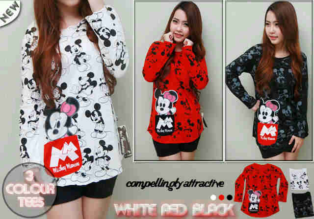 K90-MM kaos cewek mickey mouse pocket