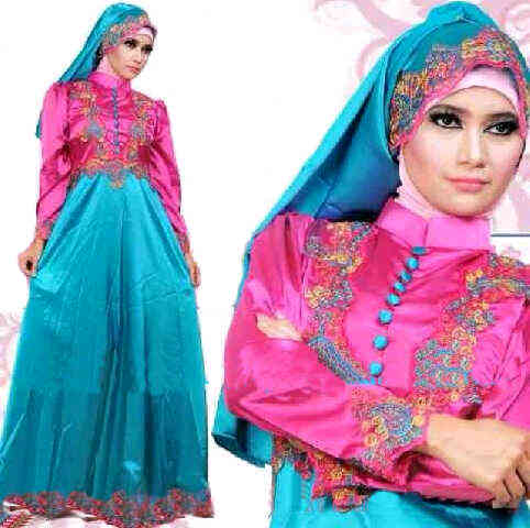 Gamis Satin Princess Magenta Model Busana Muslimah Pesta