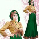 Gamis Satin Gold Green S88