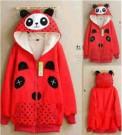 Jaket Hoodie Panda Fleece