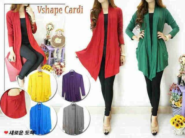 V.253 V-shape Long cardi Pocket