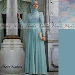 p610 Maxi Rahma  biru muda saten komb brukat prancis+pashmina