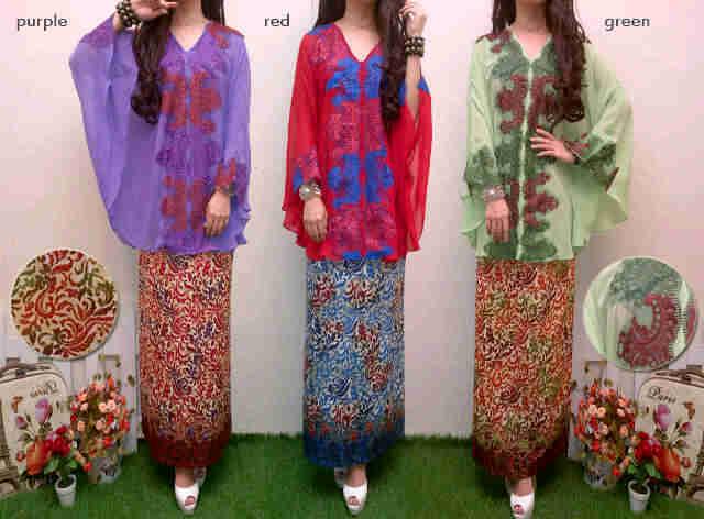 P500 kebaya modern shiffon kombi batik. Dhabi.