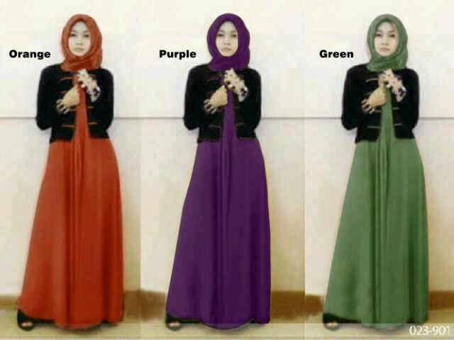 Baju Gamis Remaja Modern Melisa S257 Busana Muslim Maxi Plus
