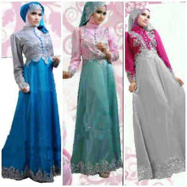 Gamis Pesta Satin New Princess S600 Butik Jingga