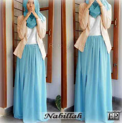 Nabillah Blue (Maxi Dress Tgn buntung + Blazer ) bhn spandek korea. Fit M Ori EP