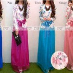 P.670 DIANA DHABI @140rb. Terusan peplum. Atas brukat bunga lapis furing. Bawah thai silk kombi tile + obi (biru, pink, tosca, peach) DHABI ± 300 gram