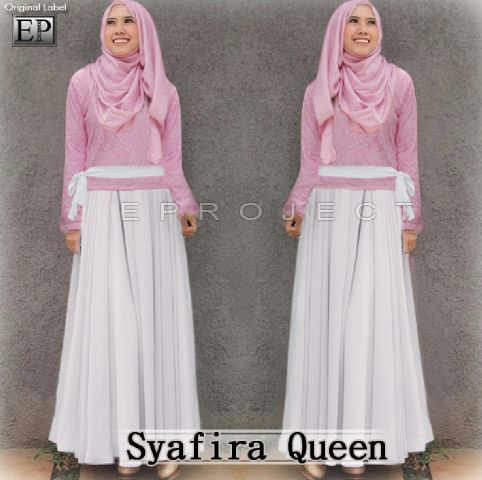 P.692 SYAFIRA QUEEN @140rb (Rok Pjg lebar model HiLow+Blouse Lapis Brukat+Pashmina pink+tali pinggang putih), Spx Korea, blouse sleting blkng LD 96 PJ 55. Rok LP 65 pinggul 132cm.EP ± 750gram