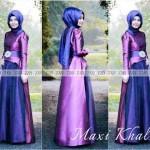 P616 Maxi KHALISA UNGU kombinasi BIRU @145rb. Gamis+pasminah bhn satin. lower dress kombi tile. fit M.LD 84cm PJ 135cm. DHABI ± 300gram