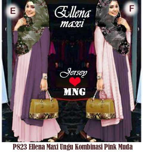 P823 Gamis Pesta Modern Ellena -ungu-kombi-pink-muda