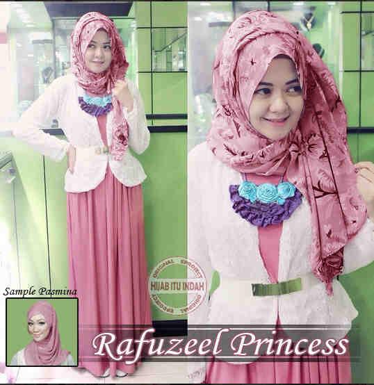 P864 Baju Gamis Remaja Modern Rafuzeel Princess Pink