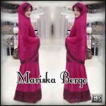 Y738 Mariska Bergo  (Maxi Dress Tgn Pjg, Sleting depan.+bergo dg pad ) spdk korea kombi brukat hitam.