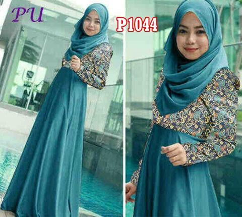 Gaun Pesta Muslim Aryana Songket P1044 Baju Gamis Modern Butik