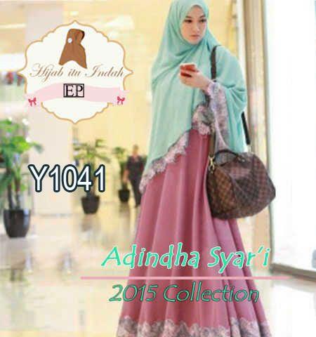Baju Gamis Syari Cantik Adindha Y1041 Busana Muslim Renda