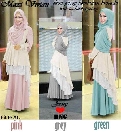 Gaun Pesta Vivian Maxi P825 L Model Baju Muslim Brokat