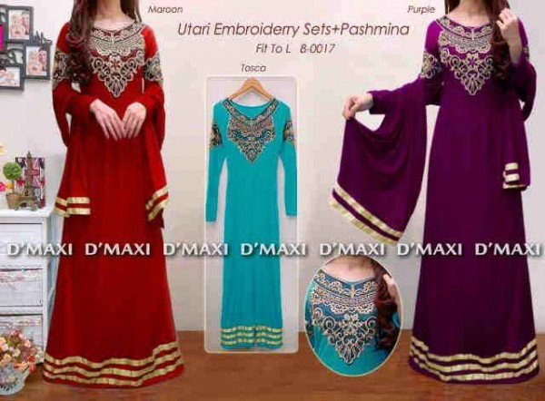 gamis pesta bordir model india