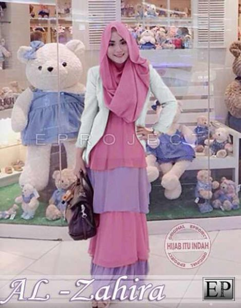 baju gamis modern zahira hijab set p865 busana muslim