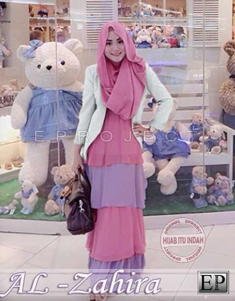 Baju Gamis Modern Zahira Hijab Set P865 Busana Muslim Pesta Terbaru