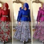 P873 gaun batik modern MIRA maroon-biru-magenta