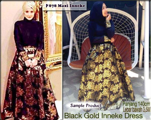 Gaun Pesta Inneke Songket P878 Baju Muslim Pesta Terbaru