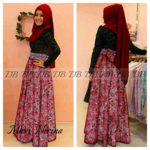 P897 baju pesta batik brokat nirina merah butikjingga com Baju gamis pesta kombinasi brokat