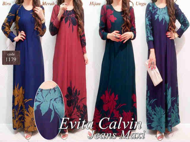 Gaun Evita Calvin Jeans P900 Gamis Remaja Modern Online Butik Jingga