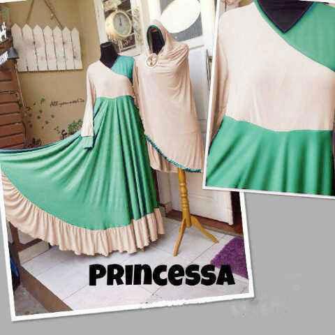 Y830 Baju Gamis Syar'i Princessa Set Bergo tosca