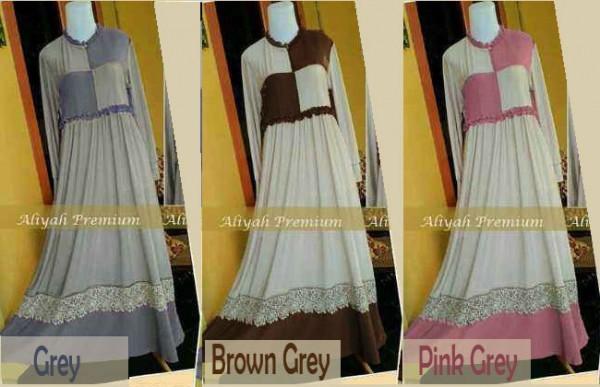 Y857 baju gamis syari aliyah premium - (3 warna)