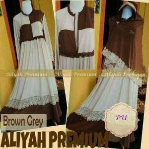 Y857 baju gamis syari aliyah premium coklat
