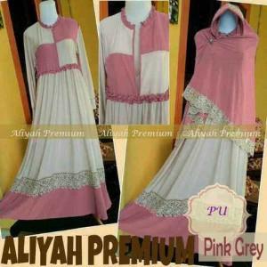 Y857 baju gamis syari aliyah premium pink
