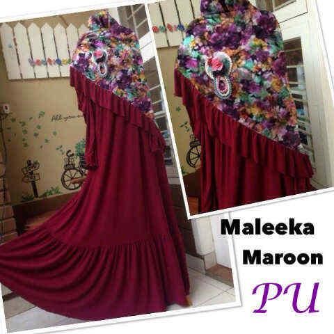 Y870 Baju Gamis Syari MALEEKA Set Bergo Busui Maroon