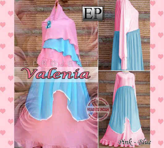 Y871 Baju Gamis Pesta Syari Valenia pink-biru