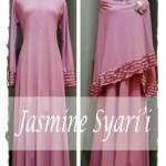 Y890 baju gamis syari set bergo jasmine busui pink salem