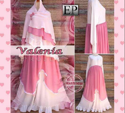 y871 Gamis Pesta Syari Valenia Busui (pink-putih). Ori EP