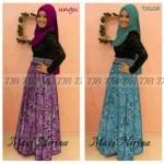 P897 Nirina Batik Kombinasi Brokat Ungu dan Tosca
