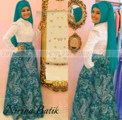 Batik Pesta Brokat Nirina2 P897a Gambar Baju Gamis Batik Kombinasi