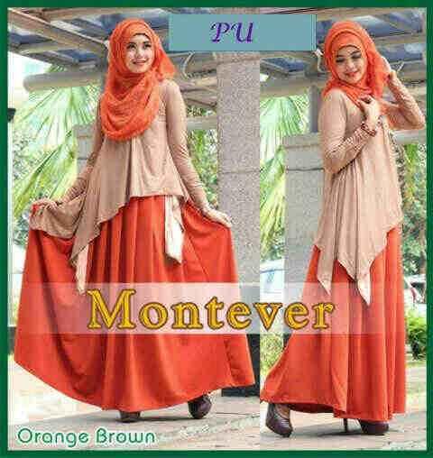 P920 Gamis Pesta Modern Montever Orange